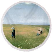 Young Girls Picking Flowers In A Meadow Round Beach Towel
