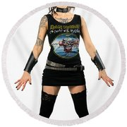 Young Heavy Metal Female Punk Fan Standing Tall With Horns Pierc Round Beach Towel