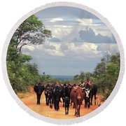 Young Herders, Zambia Round Beach Towel