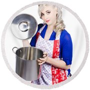 Young Housewife Lifting Lid On A Home Cooking Pot Round Beach Towel