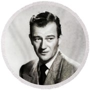 Young John Wayne, Hollywood Legend Round Beach Towel