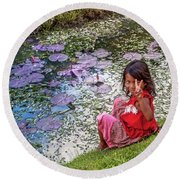 Young Khmer Girl - Cambodia Round Beach Towel