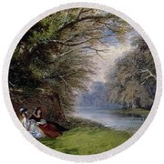 Young Ladies By A River Round Beach Towel