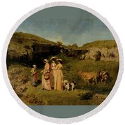 Young Ladies Of The Village By Gustave Courbet, 1851-1852 Round Beach Towel