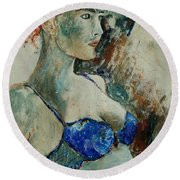 Young Lady 56 Round Beach Towel