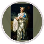 Young Lady And The Baby Round Beach Towel