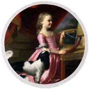 Young Lady With A Bird And A Dog Round Beach Towel