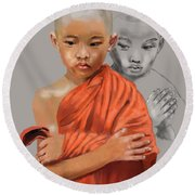 Young Lama Round Beach Towel