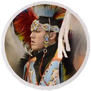 Pow Wow Young Man Round Beach Towel