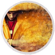 Young Man In Hooded Sweatshirt On Grunge Wall Round Beach Towel