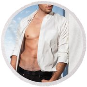 Young Man In Unbuttoned Shirt Round Beach Towel
