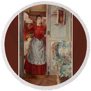 Young Man On A Door French Room, Emilio Round Beach Towel