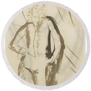 Young Man Standing Face Round Beach Towel