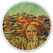 Young Man With A Corn Flower Round Beach Towel