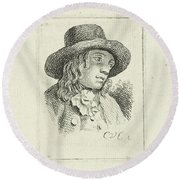 Young Man With Hat Round Beach Towel