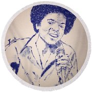 Young Michael Jackson Round Beach Towel