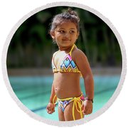 Young Model Round Beach Towel