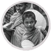 Young Monks 2 Bw Round Beach Towel