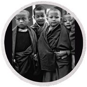 Young Monks II Bw Round Beach Towel