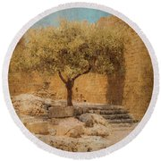 Rhodes, Greece - Young Olive Round Beach Towel by Mark Forte