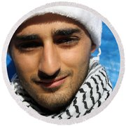 Young Palestinian Man Round Beach Towel