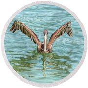 Young Pelican 0087 Round Beach Towel