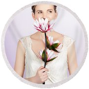 Young Romantic Woman With Lotus Flowers Round Beach Towel