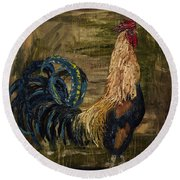 Young Rooster Round Beach Towel