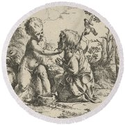 Young Saint John The Baptist Kneeling Before The Infant Christ Round Beach Towel