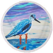 Young Seagull Coastal Abstract Round Beach Towel