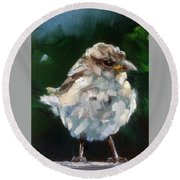 Young Sparrow Round Beach Towel