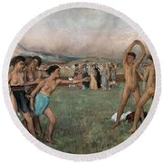 Young Spartans Exercising Round Beach Towel
