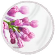 Young Spring Lilac Flowers Blooming Round Beach Towel