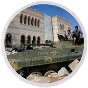 Young Syrian Boys On Top Round Beach Towel