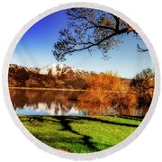 Young Trees Round Beach Towel