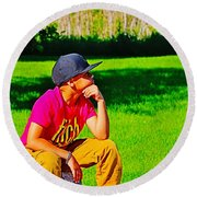 Young Thinker Round Beach Towel