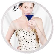 Young Woman Drinking Alcoholic Beverage Round Beach Towel
