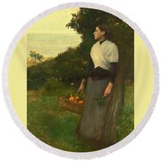 Young Woman In A Garden Of Oranges Round Beach Towel