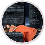 Young Woman In Long Orange Dress Round Beach Towel