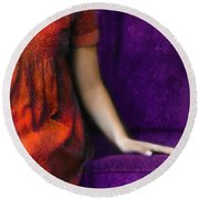 Young Woman In Red On Purple Couch Round Beach Towel by Jill Battaglia