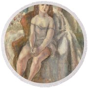 Young Woman In White Chemise Round Beach Towel