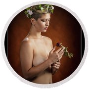 Young Woman Nude 1729.175 Round Beach Towel