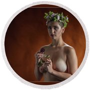 Young Woman Nude 1729.178 Round Beach Towel