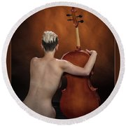 Young Woman Nude 1729.190 Round Beach Towel