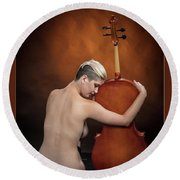 Young Woman Nude 1729.191 Round Beach Towel