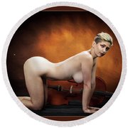 Young Woman Nude 1729.193 Round Beach Towel