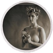 Young Woman Nude 1729.553 Round Beach Towel