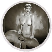 Young Woman Nude 1729.575 Round Beach Towel