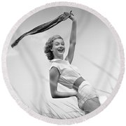 Young Woman Waving Scarf, C.1950-60s Round Beach Towel