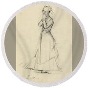 Young Woman With A Broom Round Beach Towel